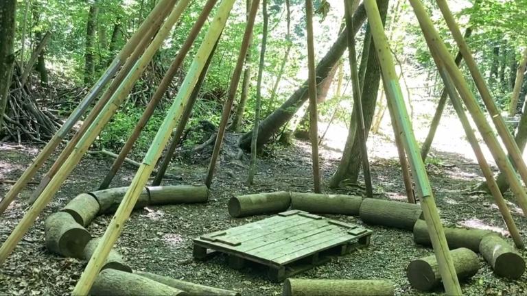 Tipi-Dach für den Waldkindergarten