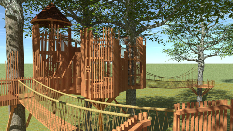 Baumhauslandschaft im Park von Schloss Moyland
