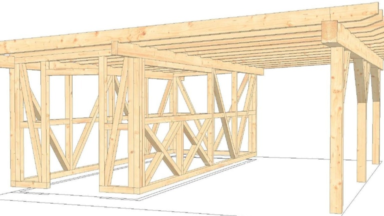 Bau Gastro Hütte mit Unterstand